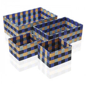 Global Home Bathroom accessories, Set of Stackable Organising Boxes Blue Bay Textile (4 Pieces), S3400461, BigBuy Home